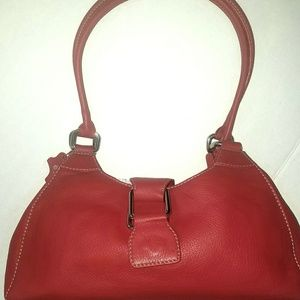 New Bloomingdales Red Leather Shoulder bag